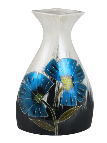 Blue & White Colourama Hand Painted Flask Vase