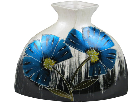 Blue & White Colourama Hand Painted Wide Flask Vase