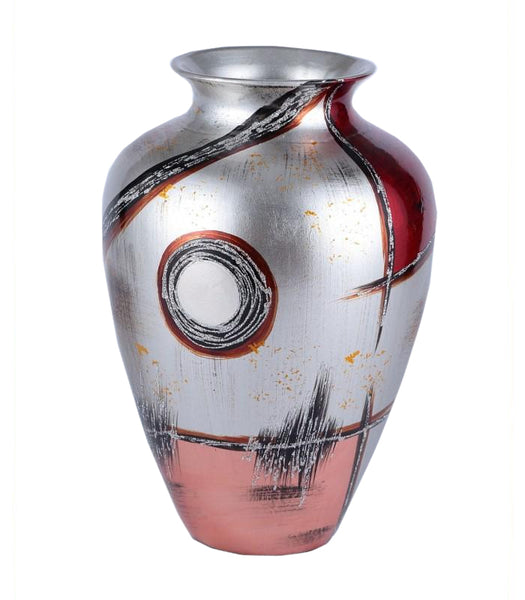 Radiant Silver & Red Colourama Potted Vase