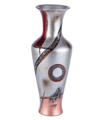 Red & Silver Colourama Potted Long Neck Vase