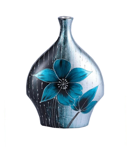 Ice Blue Floral Colourama Flask Vase
