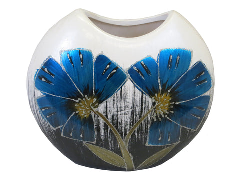 Blue & White Colourama Hand Painted Oval Vase