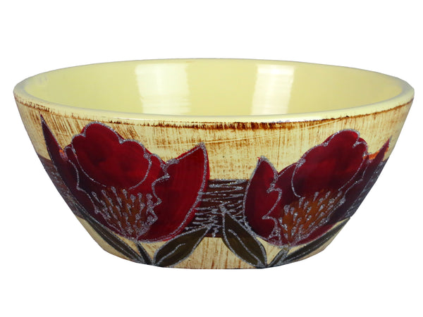 Colourama Hand Painted Red Flower Fruit Bowl