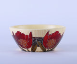 Colourama Cream Hand Painted Circular Fruit Bowl with Red Floral Flower Design