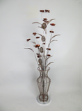 Rustic Brown Copper Coffee Floral Flower Tall Floor Standing Standard LED Lamp