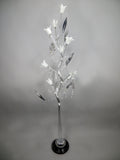 Swirl Twist Silver Metal Floor Lamp with White Glass Flower Shades