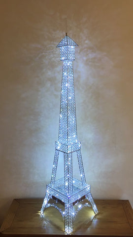 Clear Crystal Diamante LED Eiffel Tower Floor Lamp