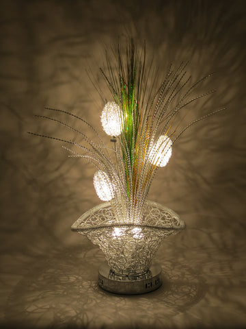 Celebration Silver Woven Wire Aluminium Metal Basket Table Lamp with Glittered Gold Green Grass