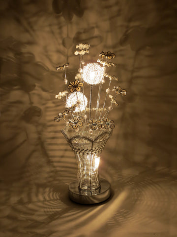 Posy Silver Woven Wire Aluminium Metal LED Table Lamp White Flowers