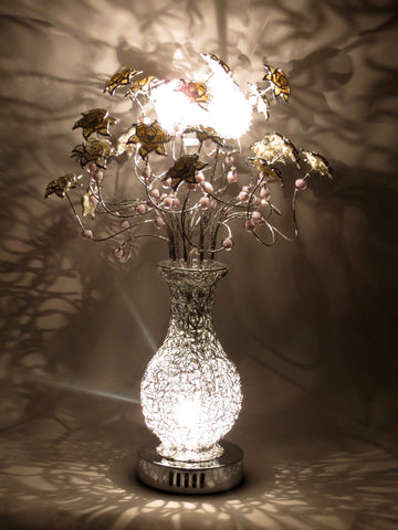 Blossom Silver Table Lamp with White Flowers and Grey Beads