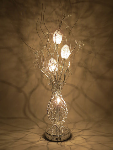 Enchanment Woven Wire Aluminium Silver Metal Table Lamp with Clear Transparent Crystal Berries Jewels