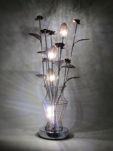 Rustic Coffee Floral Wire Table Lamp
