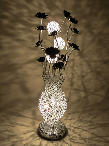 Sofia Woven Wire Aluminium Metal Silver Table LED Lamp with Black Flowers Floral