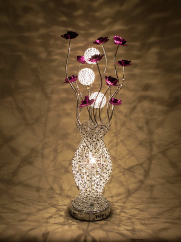 Sofia Woven Wire Aluminium Metal Silver Table LED Lamp with Purple Flowers Floral