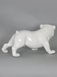 Ceramic White Gloss Standing Bulldog Dog Ornament with Blue Eyes