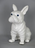 Ceramic White French Bulldog Ornament Figurine with Blue Eyes