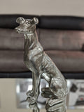 Pewter Styled Small Sitting Dog Ornament