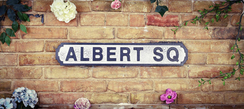 Albert Square Eastenders White Black Retro Vintage Road Sign