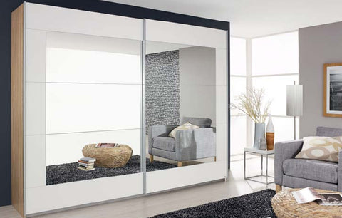 Pelligrino Mirrored Door Sliding Wardrobe - White, Oak or Grey