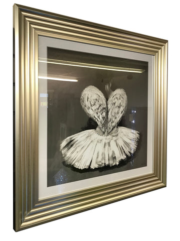 Angel Ballet Dancer with Diamante Wall Art (Champagne Frame)