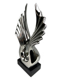 Silver Electroplated Ceramic Angel Wings Ornament