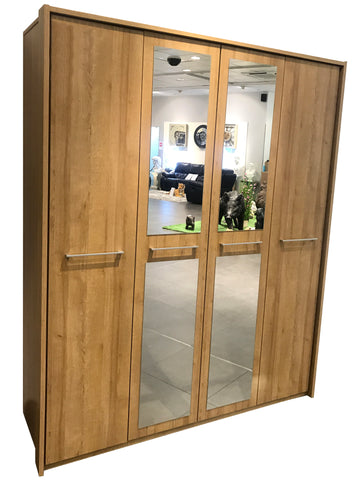 Aresa Wooden Hinged Door Wardrobe with Mirror Doors