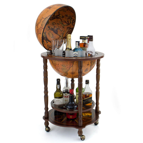 Tellus Brown Vintage Wood Drinks Globe Trolley