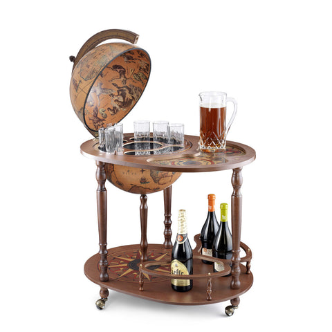 Server Brown Vintage Wood Drinks Globe Trolley with Serving Tray
