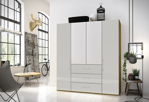 Bliss High Polish & Mirrored Door Combi Wardrobe - White or Grey