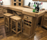 Reclaimed Oak Maxi Bar Table with Inbuilt Wine Rack & Storage
