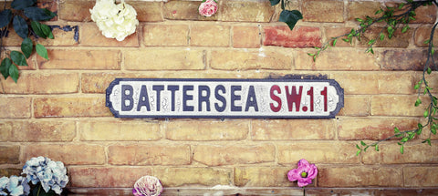 Battersea SW11 Vintage Retro White Black Crackle Road Sign