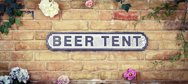Beer Tent Vintage Retro Black White Garden Vintage Road Sign