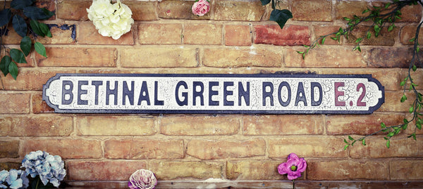 Bethnal Green Road E2 Vintage Retro Black White Crackle Road sign