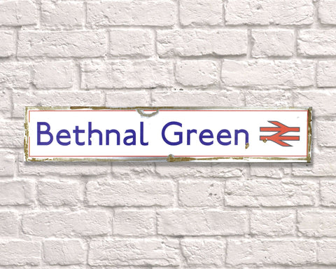 Bethnal Green Rusted Metal Vintage Road Sign
