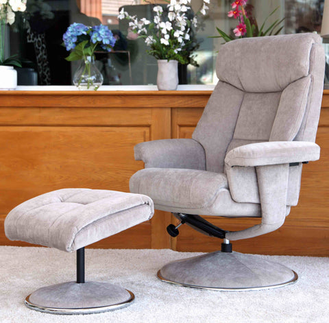 Biarritz Swivel Fabric Recliner Chair & Stool - Mist