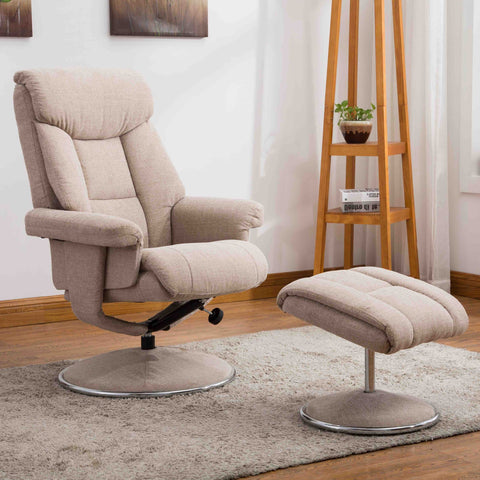 Biarritz Swivel Fabric Recliner Chair & Stool - Lisborn Wheat
