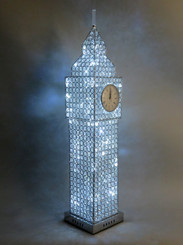 Silver Big Ben Tower Table Lamp with Clear Crystal Jewels and White Quartz Clock Face