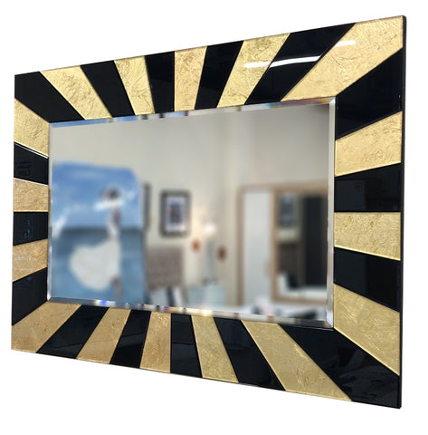 Black & Gold Leaf Stripe Wall Mirror