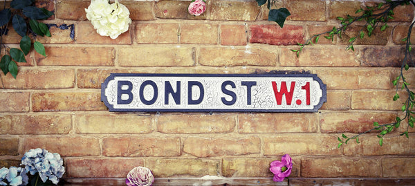 Bond Street W1 Vintage Retro White Black Crackle Street Sign