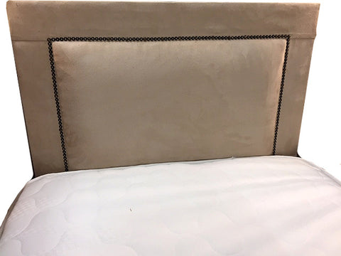 "Boston 24"" Studded Suede Beige Tan Headboard"