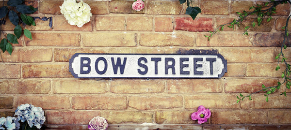 Bow Street Vintage Retro White Black Road Sign
