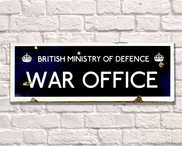 British Ministry of Defense War Office Rusted Metal Vintage Road Sign