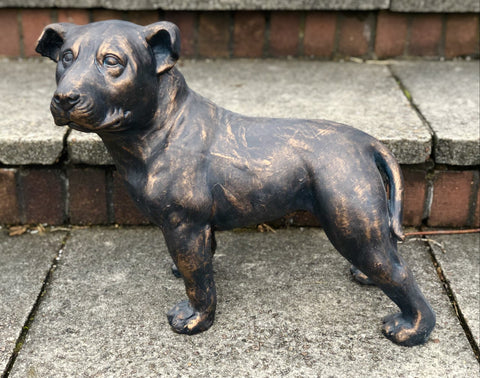 Bronze Effect Effect Staffordshire Bull Terrier Puppy Garden Ornament