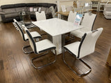 Brooklyn White Gloss & Grey Marble Effect Extending Dining Table & 6 Faux Leather Dining Chairs