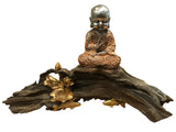 Baby Buddha Sitting on Drift Wood Ornament (Peach & Silver)