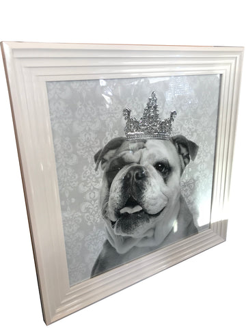 Bulldog with Diamante Liquid Art Crown Wall Art (White Gloss Frame)