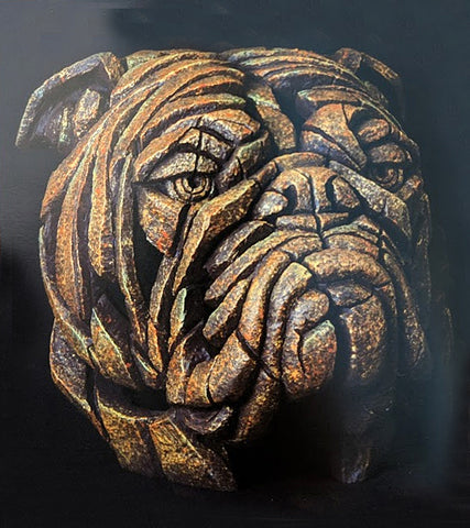 Bulldog Bust Smouldering Brown Rust Ornament