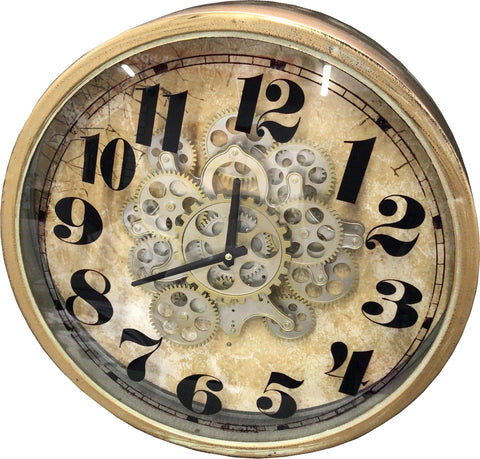 Brass Effect Round Mechanical Gear Skeleton Wall Clock