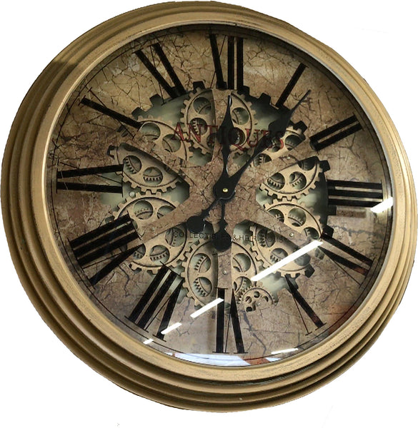 Antique Effect Round Mechanical Gear Skeleton Wall Clock