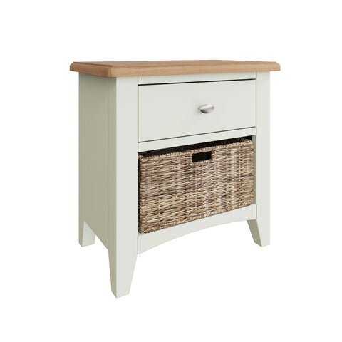 Fresh White with Oak Tops Single Drawer Basket Cabinet